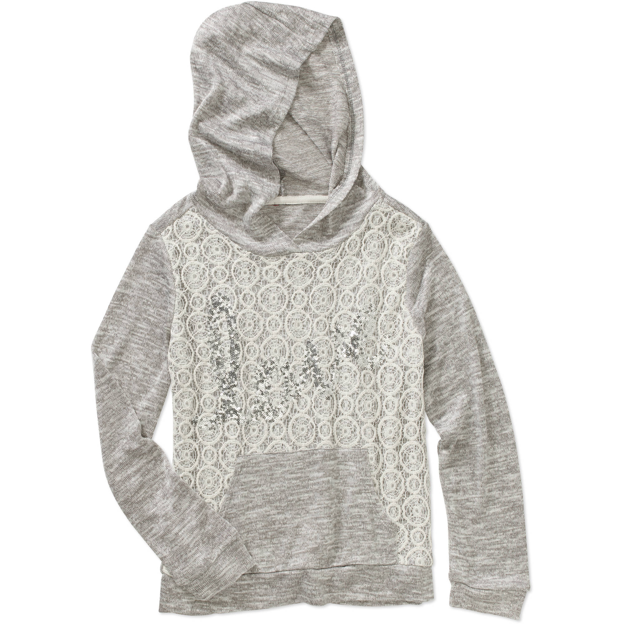 Miss Chievous Girls' Crochet Front Love Hoodie with Kangaroo Pocket