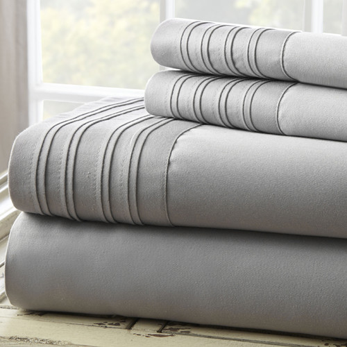 Amrapur Overseas Inc. Fine Linens 1000 Thread Count 4 Piece Full Sheet Set, Gray