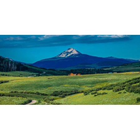Log Cabin with Mountains and green trees - San Juan Mountains, Colorado, USA Print Wall Art