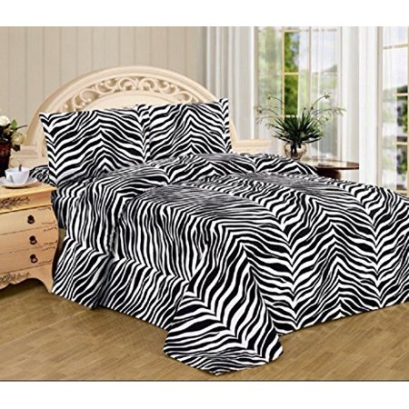 Black White Zebra Print Queen Size Sheet Set 4 Pc Safari Animal Print Bedding
