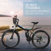 "Folding Electric Mountain Bike with 26"" Super Lightweight Magnesium Alloy 6 Spokes Integrated Wheel, Large Capacity Lithium-Ion Battery (36V 250W),Black Electric Bicycle"