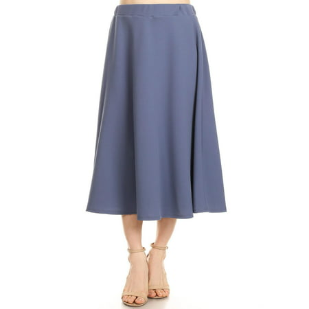 MOA COLLECTION Women's Solid Print Casual Comfy Elastic A-line Knee Midi Skirt/Made in USA