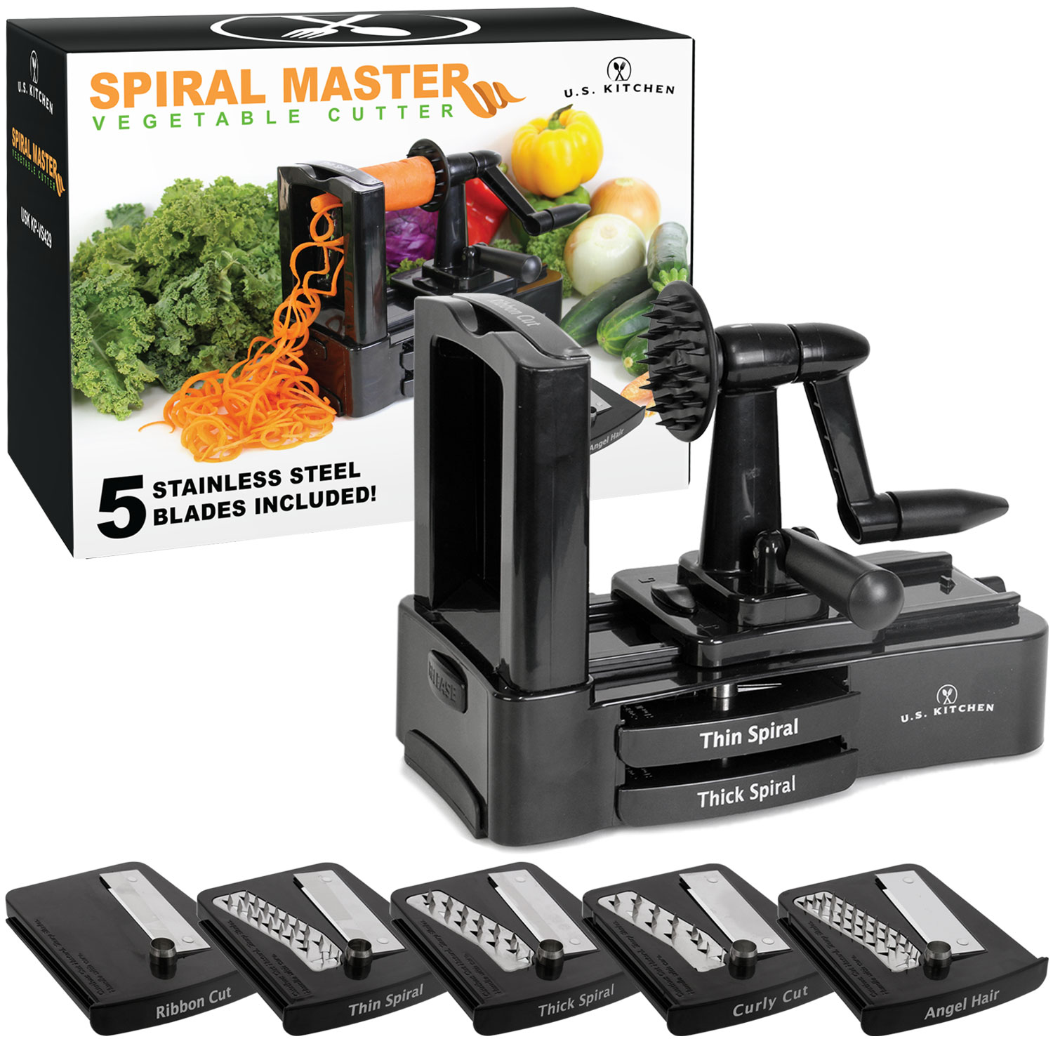 U.S. Kitchen Supply Spiral Master Vegetable Cutter   Stainless Steel  Spiral, Ribbon, Thin, Thick, Curly And Angel Blades   Walmart.com