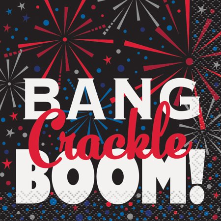 Bang, Crackle, Boom 4th of July Paper Beverage Napkins, 5 in, - 4th Of July Paper Products