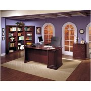 Pemberly Row L-Shape Executive Office Computer Desk in Harvest Cherry