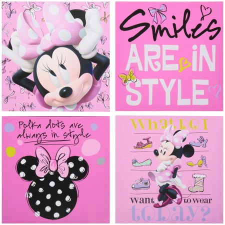 Disney Room Decor (Disney Minnie Mouse 4-Count Canvas Wall)