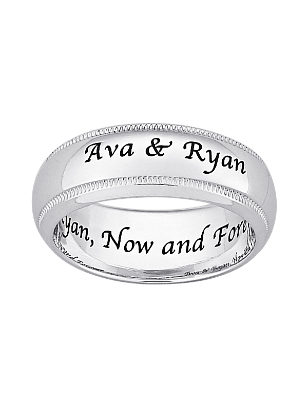 Personalized Laser-Engraved Wedding Band in Sterling Silver