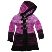 Dollhouse Little Girls Toggle Long Pointelle Knit Cardigan Sweater with Hood