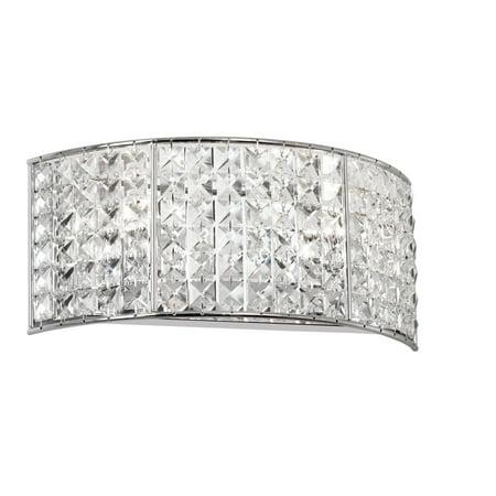 Dainolite 2 Light Crystal Vanity Fixture - Polished Chrome