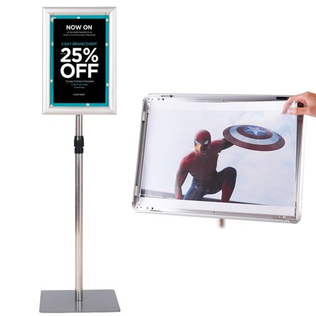 Gymax Adjustable Pedestal Poster Stand Aluminum Sign Holder 8.5 x 11 Inches Graphics