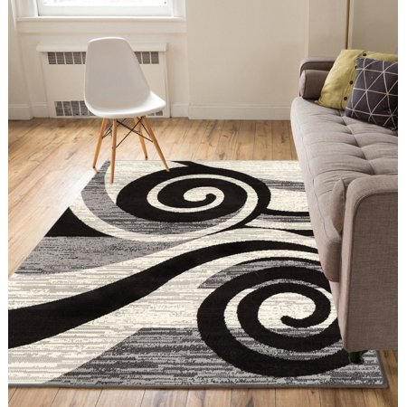Well Woven Miami Maple Waves Modern Grey Area Rug ()