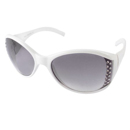 Outdoor Rhinestone Detail Full Frame Colored Lens Sunglasses Glasses White - Coloured Contact Lenses For Halloween