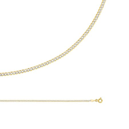 - Cuban Necklace Solid 14k Yellow & White Gold Chain Pave Curb Links Two Tone Thin, 2 mm - 16,18,20,22,24 inch