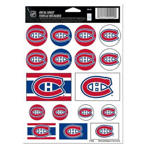 Montreal Canadiens Official NHL 5 inch x 7 inch  Sticker Sheet by Wincraft