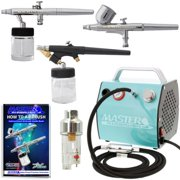 Master Airbrush Brand Multi-purpose Professional Airbrushing System with 3 Airbrushes, G22 Gravity Feed, G25 Gravity Fee