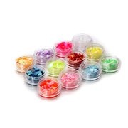 12 Colors Nail Art Acrylic Glitter Shinny Mixture Ice Mylar Shell Paper Sets Hot