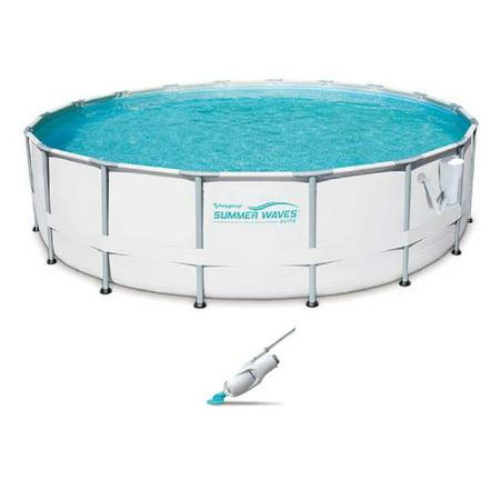 Summer Waves Elite 18' Ft. Metal Frame Pool Set with Filter Pump and Vacuum
