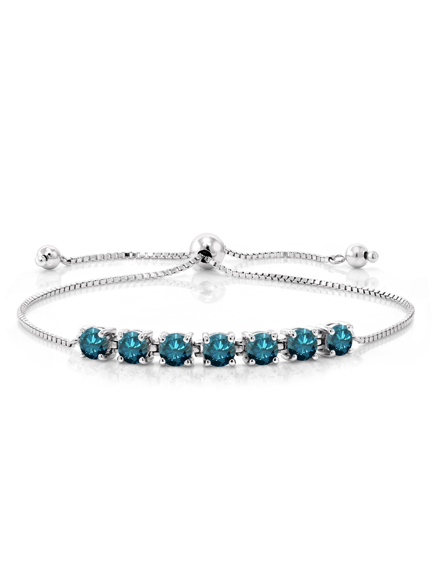 2.59 Ct Round Blue Diamond 925 Sterling Silver Bracelet by