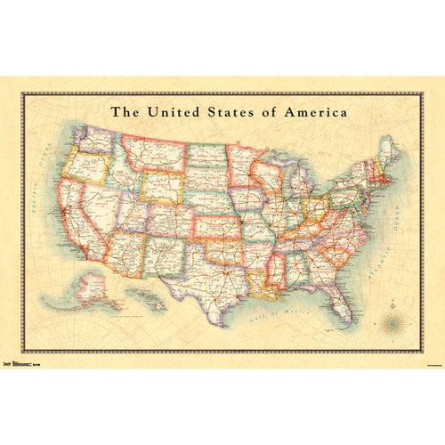 Map USA 13 Poster