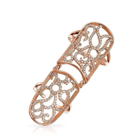 Pink CZ Swirl Fashion Statement  Flexible Armor Full Finger Ring For Women For Teen Rose Gold Plated (Finger Armor Ring)