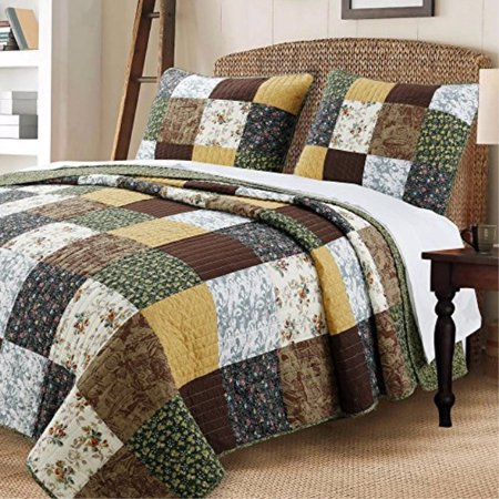 Cozy Line Home Fashions Andy Brown Quilt Bedding Set, 100 COTTON Striped Real Patchwork, Black Olive Country Style, Reversible C ()