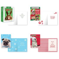 B-THERE Bundle of 12 Boxed Christmas Greeting Cards - Photographic Pets, Foil and Glitter Finishes with Envelopes
