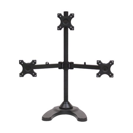 Adjustable Desk Monitor (NavePoint Triple LCD Monitor Desk Stand/Mount Free Standing Adjustable 3 Screens upto 24-Inches)