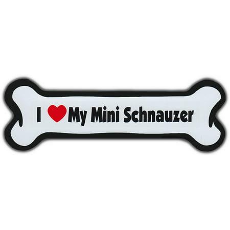 Mighty Mini Magnet - Dog Bone Magnet: I Love My Mini Schnauzer | For Cars, Refrigerators, More
