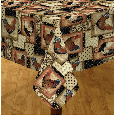 Oval Tablecloth Sizes - Elrene Home Fashions Vintage Rooster 84'' Oval Vinyl Tablecloth