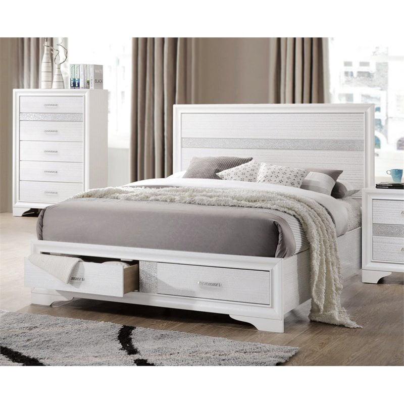 Coaster Miranda Queen Storage Panel Bed in White