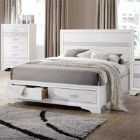 Coaster Miranda Queen Storage Panel Bed in White and Rhinestone