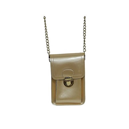 Beauté Fashion - Beaute Bags Mini Patent Leather Crossbody Handbag Cell  Phone Case Bag - GENUINE PATENT LEATHER - Evening Bag Cocktail Party Bag  (Champagne) ... 1b973e8826cb7