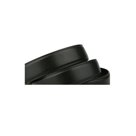 """Men Automatic Buckle Business Ratchet Leather Belt Width 1 3/8"""" Black 160cm - image 1 of 6"""