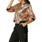 Women's Sparkle Sequin Long Sleeve Zipper Bomber Jacket S Rose Gold