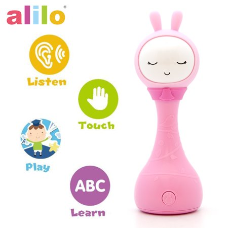 Alilo R1+ Shake and Tell Advanced Educational Baby Rattle Smart Bunny w/ 7 Features Learning Number, Alphabet, Music Note, Sleeping Nursery Rhyme, Repeat, Interactive Game & Illuminating Ears - Pink ()