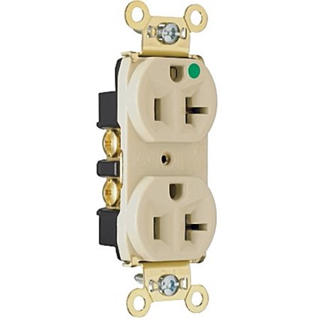 Pass and Seymour 8300-HI Ivory Heavy-Duty Hospital Grade Receptacle Duplex Outlet 20A 125V (Hospital Grade Receptacle Outlet)