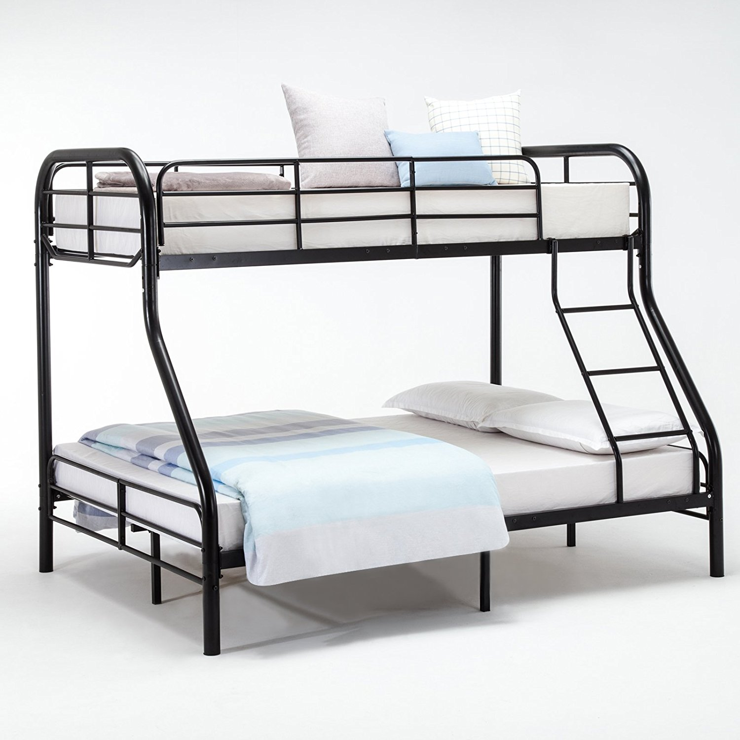 Uenjoy Metal Twin over Full Bunk Beds Ladder Kids Teens Adult Dorm Bedroom Furniture,Black