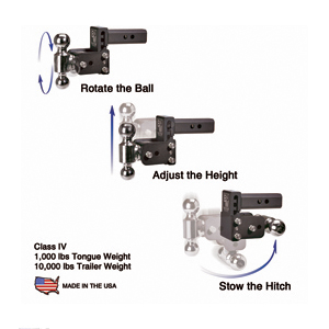 "B&W Hitches TS10035B Black 6"" Double Ball Tow And Stow by B%26W Hitches"