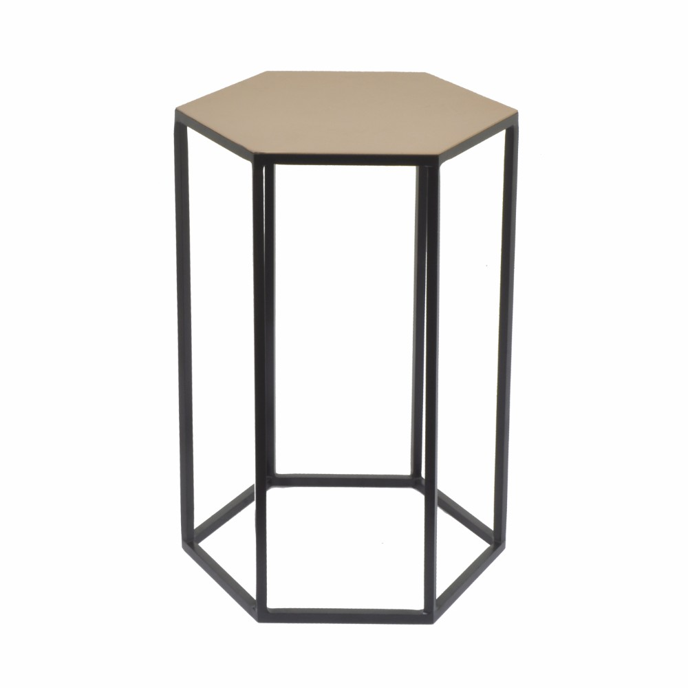 82437 Hexagonal Top Metal Accent Table   Small   Benzara