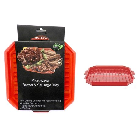 DINY Home & Style Microwave Bacon & Sausage Tray BPA Free Defrost Cook and Serve