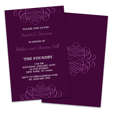 Purple Scroll Personalized Wedding Reception Invitations