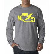 Trendy USA 865 - Unisex Long-Sleeve T-Shirt Check Engine Light Car Repair Mechanic Small Heather Grey