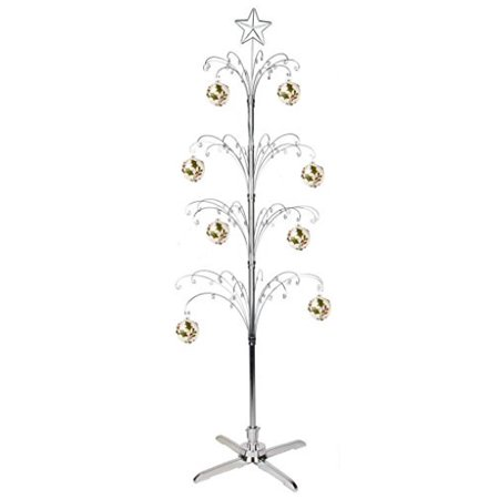 HOHIYA Metal Christmas Ornament Display Tree Rotating Stand Ball Bauble Dog Cat Photo Glass Chrome Plated 90 Hooks Hanger for Hanging Crystal Suncatchers Prism Rainbow Maker Jewelry 74inch(Silver) (Hanging Glass Balls)