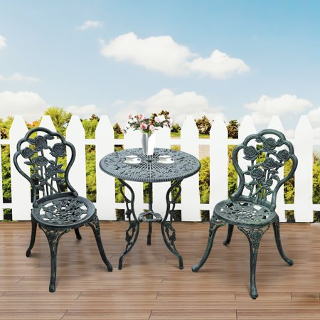 Anself 3 Piece Outdoor Patio Cast Iron Antique Style