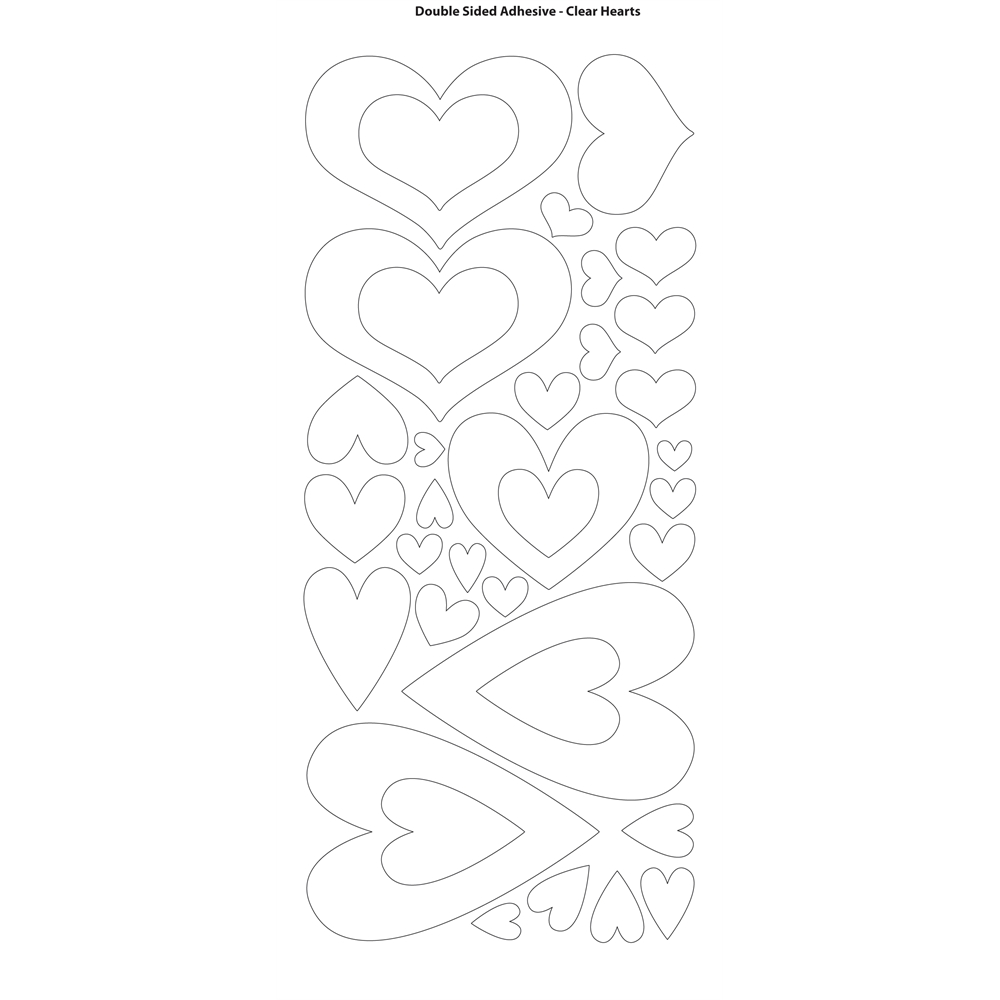 Dazzles Double-Stick Hearts Stickers (Set of 4)