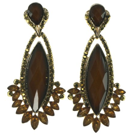 Drop Dangle Earrings With Crystal Accents Gold-Tone & Brown