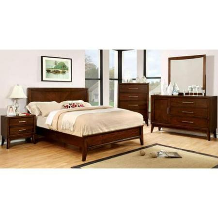 Furniture of America Kasten Modern 4-piece Brown Cherry Bedroom Set Eastern King