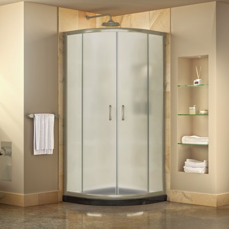 DreamLine Prime 33 in. x 74 3/4 in. Semi-Frameless Frosted Glass Sliding Shower Enclosure in Brushed Nickel with Black Base