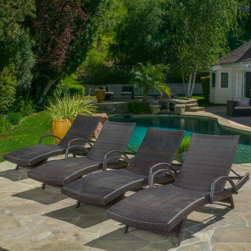 Stratford Outdoor Wicker Adjustable Chaise Lounge With Arms (set of 4)
