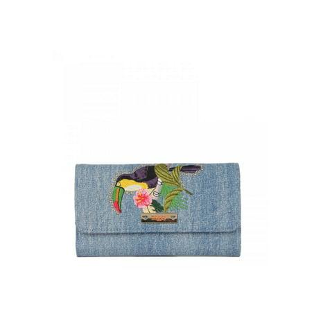 Nikky Fashion Denim Parrot Embriodered RFID Blocking Wallet
